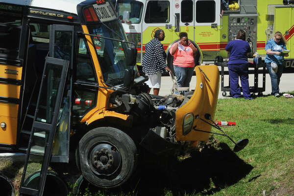 More than 20 Charlton-Pollard Elementary students and two adults were hospitalized when a Beaumont Independent School District bus was involved in a traffic accident on US 69 in Lumberton Wednesday. The bus was returning from a Big Thicket field trip when the accident forced the bus to crash into a culvert and stopping in another culvert several feet away. Lumberton Police are investigating the cause of the accident. Photo taken Wednesday, April 05, 2017 Guiseppe Barranco/The Enterprise