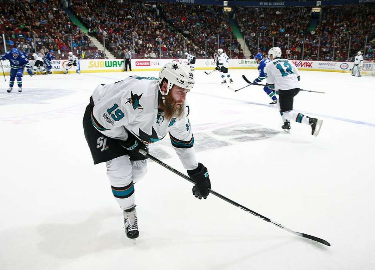 VANCOUVER, BC - April 2: Joe Thornton #19 of the San Jose Sharks hobbles to the bench during his NHL game against the Vancouver Canucks at Rogers Arena April 2, 2017 in Vancouver, British Columbia, Canada. (Photo by Jeff Vinnick/NHLI via Getty Images)