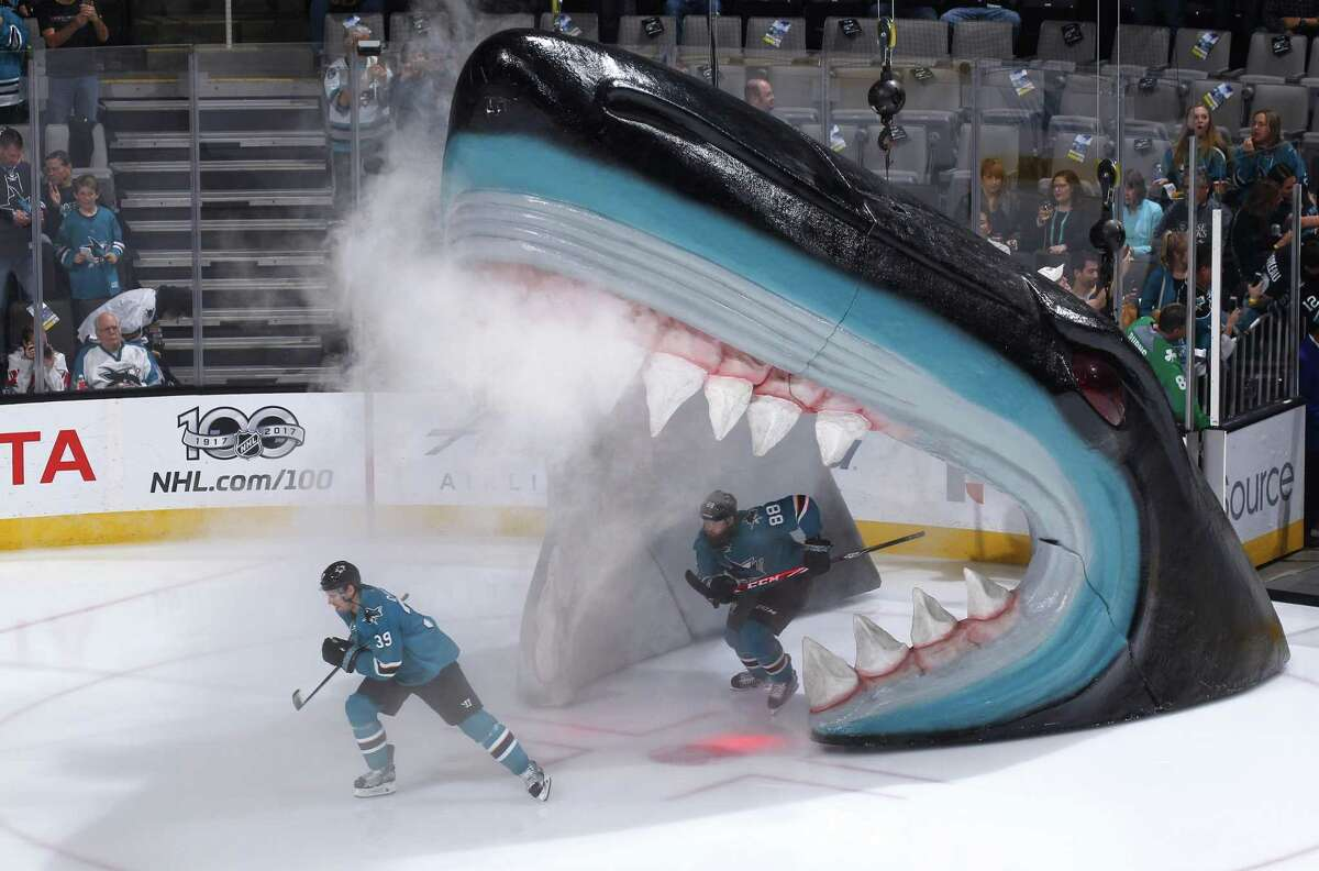 SAN JOSE, CA - MARCH 14: Logan Couture #39 of the San Jose Sharks skates out from the shark's head during pregame introductions against the Buffalo Sabres at SAP Center on March 14, 2017 in San Jose, California. (Photo by Rocky W. Widner/NHL/Getty Images)