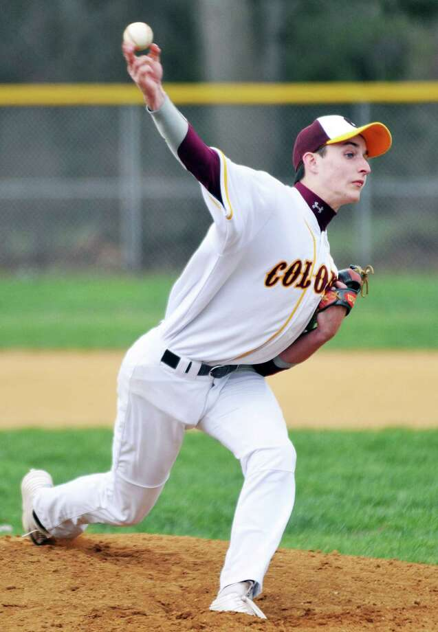 Ryan Lambert, pitcher of Colonie Central High School baseball team, pitches during their home game against Christian Brothers Academy  on Monday, April 25, 2016, in Colonie, N.Y. (Brittany Gregory / Special to the Times Union) Photo: Brittany Gregory / 10036319A