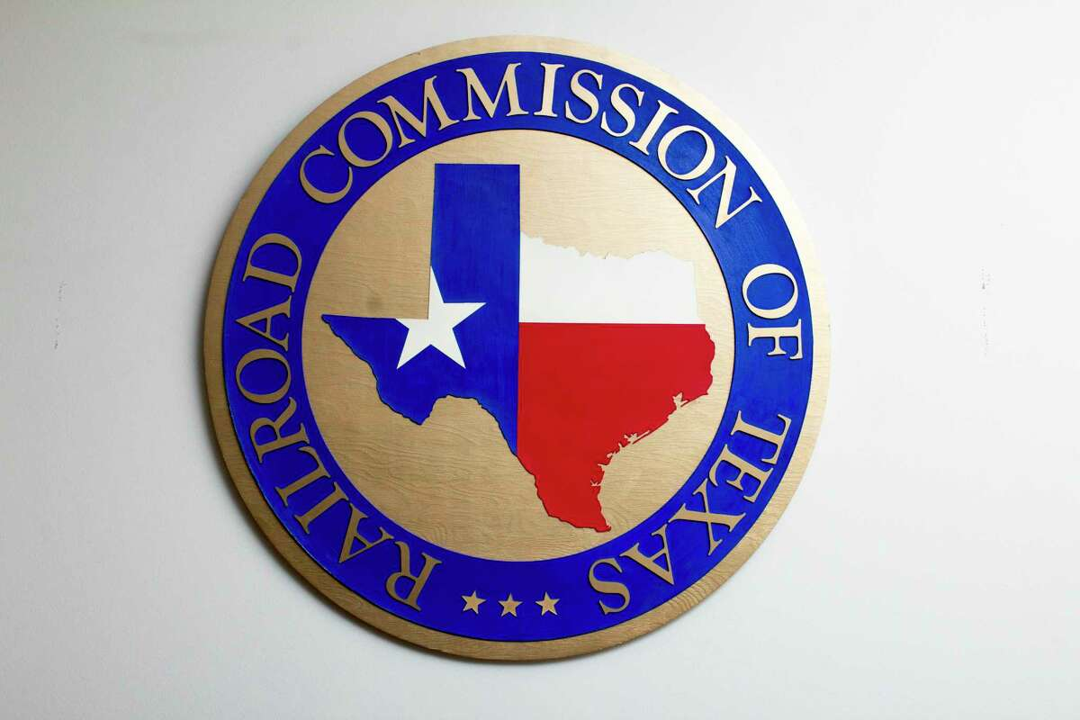 The Texas Railroad Commission's logo at its headquarters in Austin. (Chronicle File Photo)