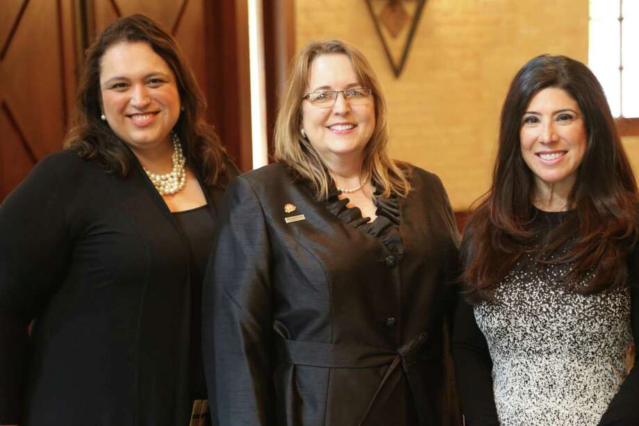 In January, the San Antonio Board of Realtors swore in Michele Bunting Ross, center, as chairwoman, and Yvette Allen, right, as chair-elect. Lorena Peña, SABOR's secretary and treasurer, is on the left. Photo: Courtesy /Courtesy