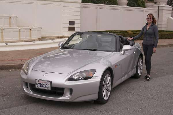 Photos of Bonnie Jones and her 2006 Honda S2000, photographed in Saint Francis Wood in San Francisco, CA February 1, 2017