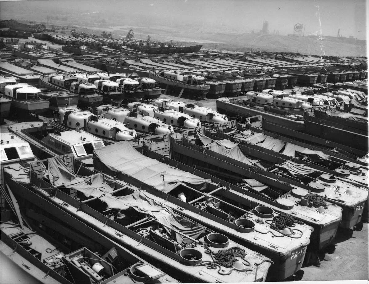 War Assets Administration was in charge of surplus supplies left over from World War II Here, ccloseup shows part of the 2000 craft in the boat pool in San Pedro California Photo dated 8/3/1947 Wide World Photos