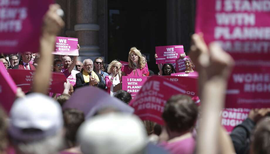 Former state senator Wendy Davis speaks at a rally on the Capitol steps during Planned Parenthood Lobby Day in Austin on April 5, 2017. Photo: Tom Reel, San Antonio Express-News