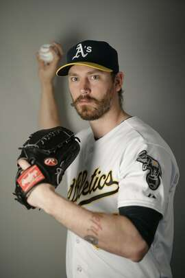 This is a 2016 photo of John Axford of the Oakland Athletics baseball team. This image reflects the Oakland Athletics active roster as of Monday, Feb. 29, 2016, when this image was taken. (AP Photo/Chris Carlson)