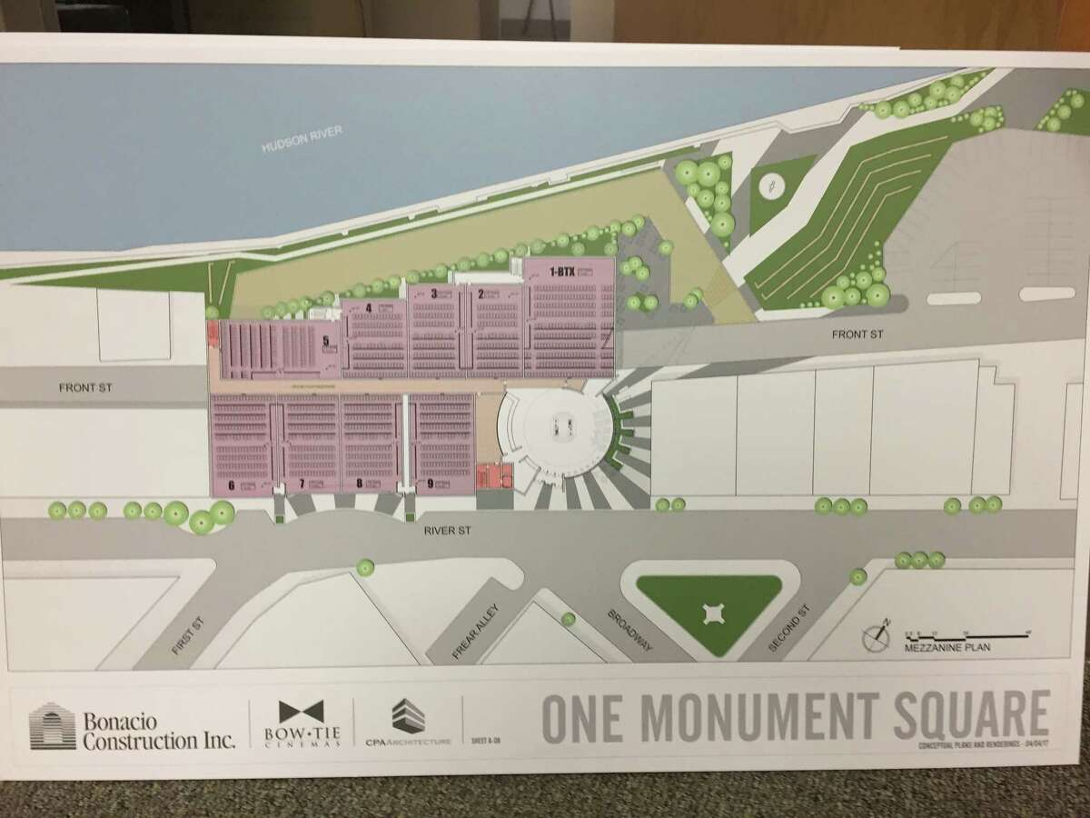 Renderings of the development plans at Monument Square in Troy introduced April 5, 2017. (Kenneth C. Crowe II / Times Union)
