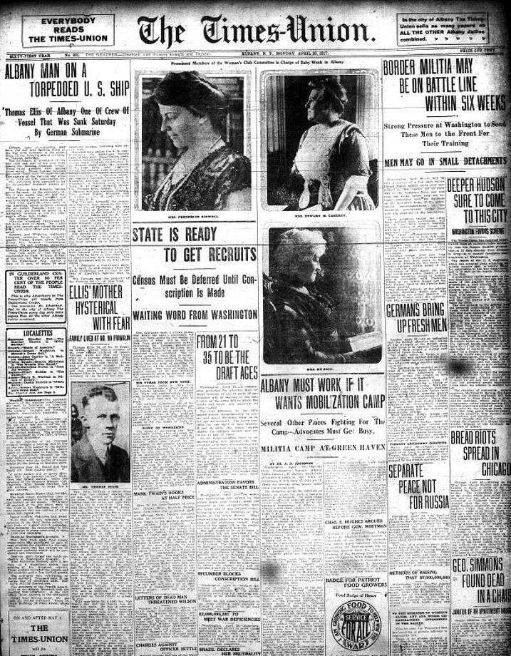 Times Union front page, April 30, 1917 as America entered World War I.
