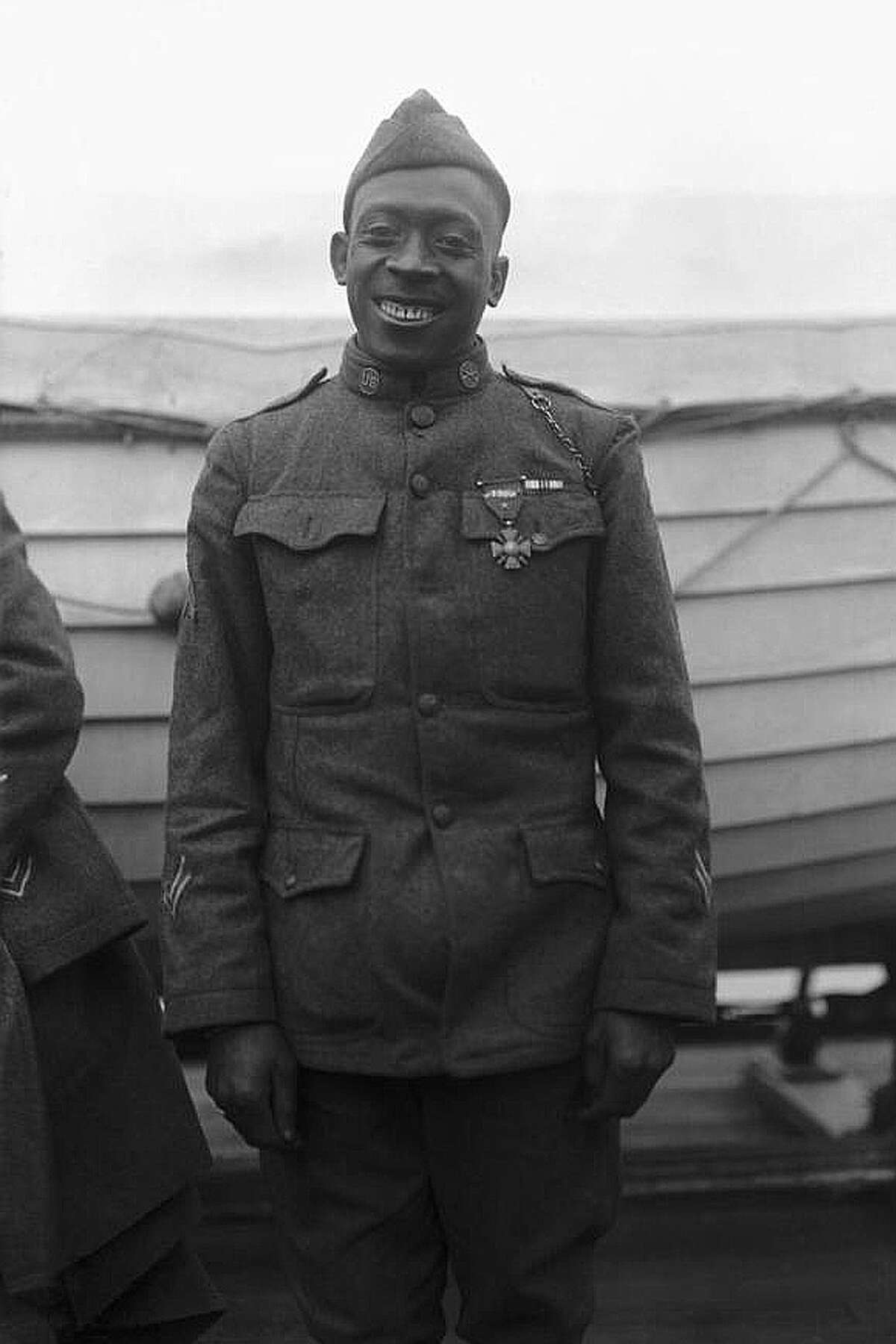 Sgt. Henry Johnson is pictured in wearing his Croix de Guerre in 1918. (New York Daily News)