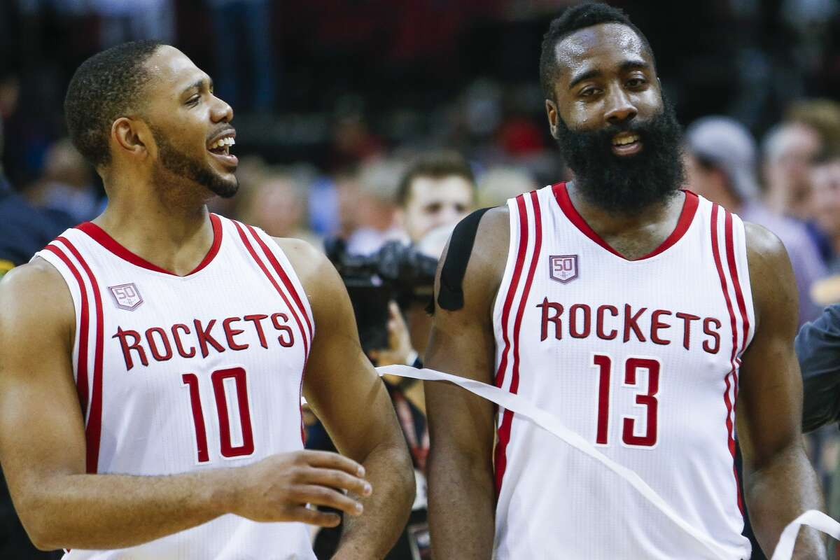 Houston Rockets guard Eric Gordon (10) and guard James Harden (13) celebrate as the Houston Rockets beat the Denver Nuggets 110-104 at the Toyota Center Wednesday, April 5, 2017 in Houston. ( Michael Ciaglo / Houston Chronicle)