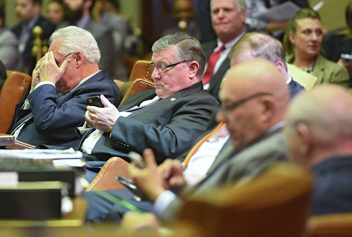 New York State Assemblymembers listen to other members during budget bill voting at the Capitol Wednesday, April 5, 2017 in Albany, N.Y. (Lori Van Buren / Times Union)