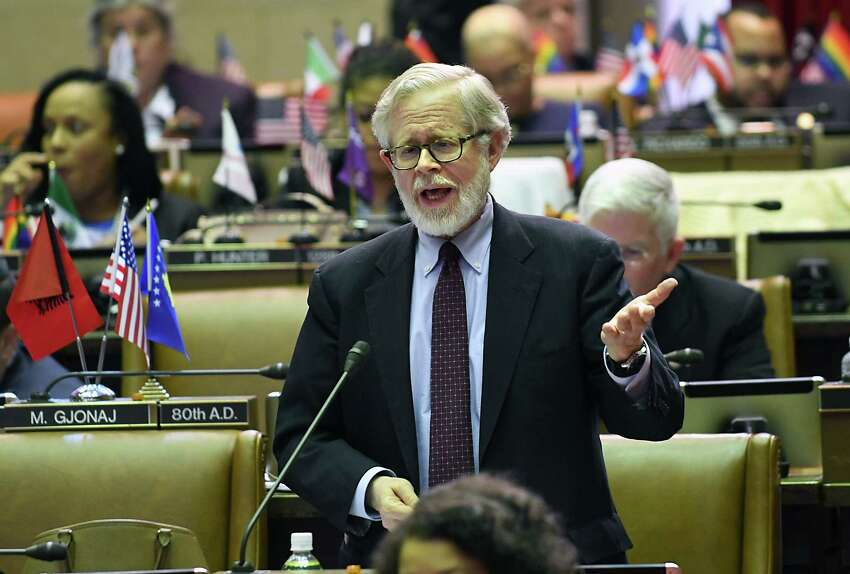 New York State Assemblymember Richard Gottfried explains his vote during budget bill voting at the Capitol Wednesday, April 5, 2017 in Albany, N.Y. (Lori Van Buren / Times Union)