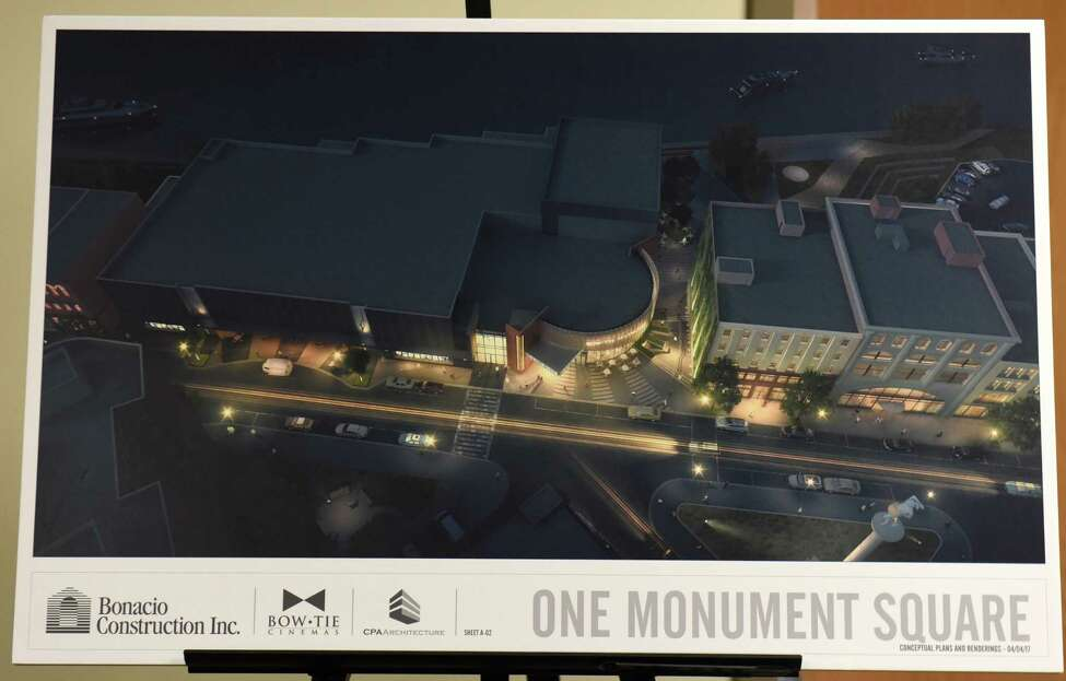 Renderings are seen at a meeting where Bonacio Construction and Bow Tie presented a proposed square movie theater project to the City Council Planning and Economic Development Committee at City Hall Wednesday, April 5, 2017 in Troy, N.Y. (Lori Van Buren / Times Union)