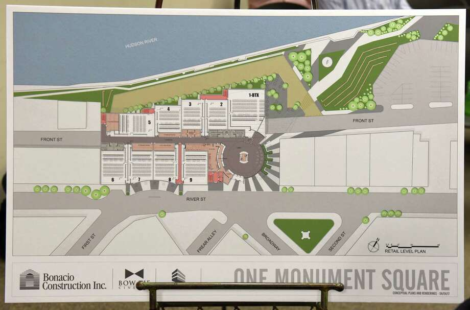 Renderings are seen at a meeting where Bonacio Construction and Bow Tie presented a proposed square movie theater project to the City Council Planning and Economic Development Committee at City Hall Wednesday, April 5, 2017 in Troy, N.Y. (Lori Van Buren / Times Union) Photo: Lori Van Buren / 20040157A