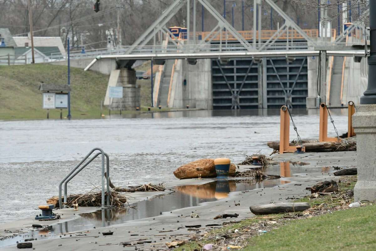 Flood waters in the Erie Canal receded overnight as this photograph from Lock 2 in Waterford shows. On Wednesday, water flooded low-lying areas in Waterford and other river-front communities. Forecasters said heavy rains on Thursday and Friday could cause new flooding.