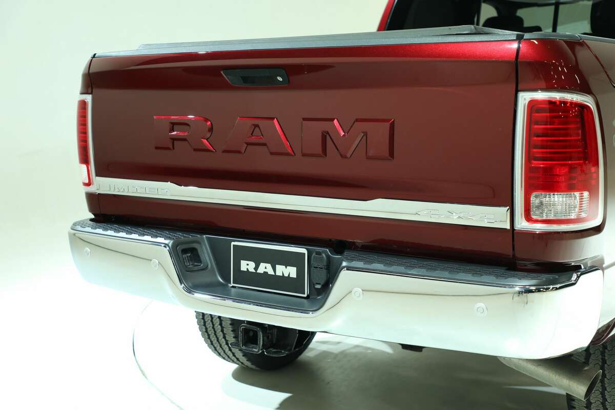 A new option for Ram Limited models is the body-color tailgate badge, shown here on the 2017 Ram Laramie Limited. The new option was unveiled Wednesday, April 5, 2017, at the Houston Auto Show.