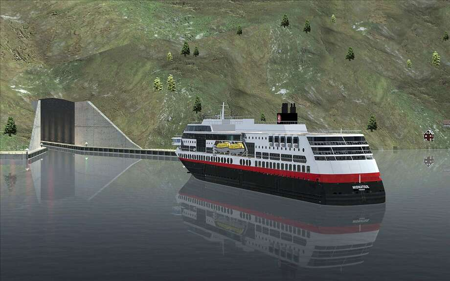 In this computer rendered image, a ferry approaches the entrance of the $314 million tunnel. Photo: Snohetta/Norwegian Coastal Administration, Associated Press
