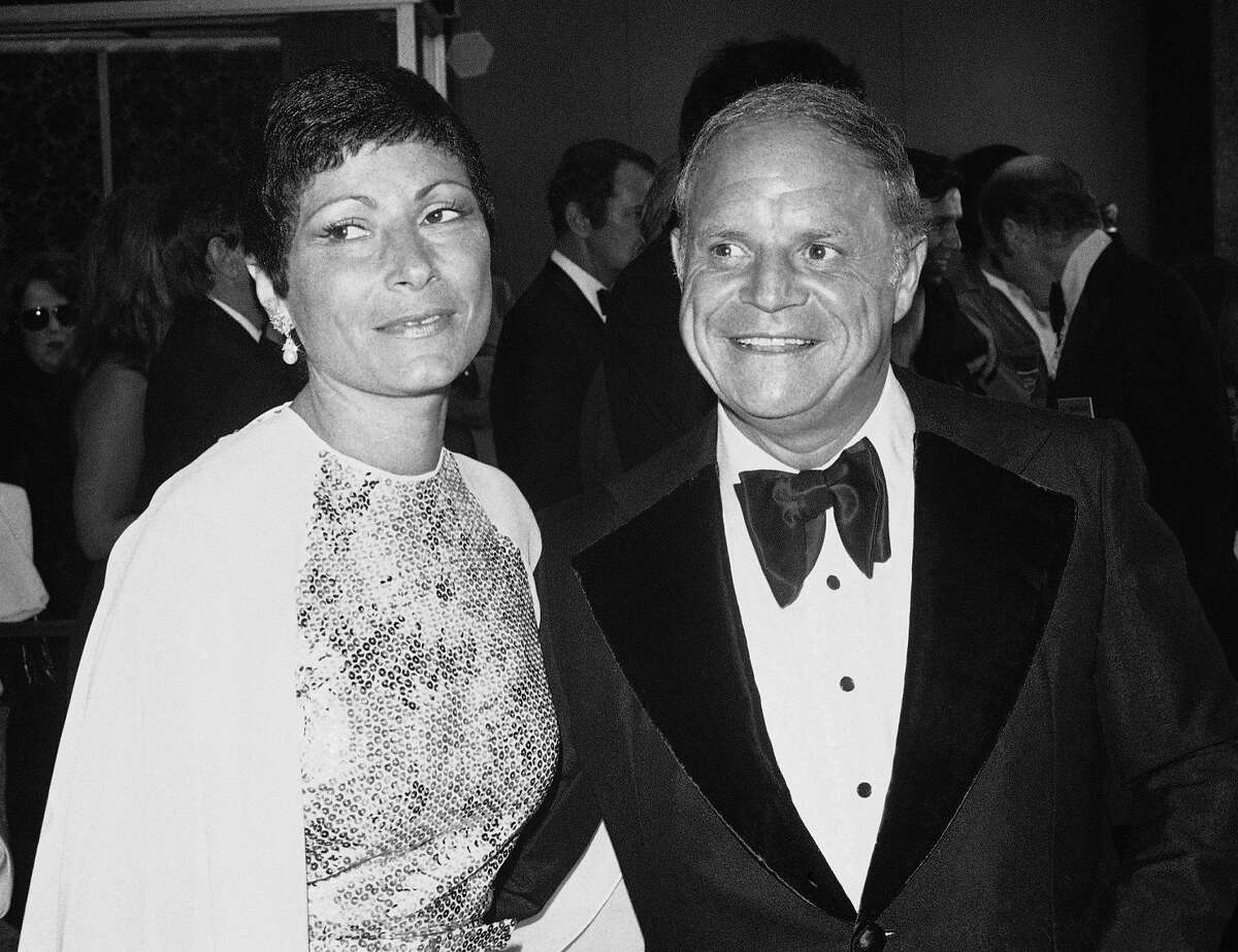 FILE - In this May 28, 1974 file photo, comedian Don Rickles, right, appears with his wife Barbara arrive at Pantages Theater for the Emmy Awards in Los Angeles. Rickles died Thursday, April 6, 2017, of kidney failure at his Los Angeles home. He was 90. (AP Photo, File)