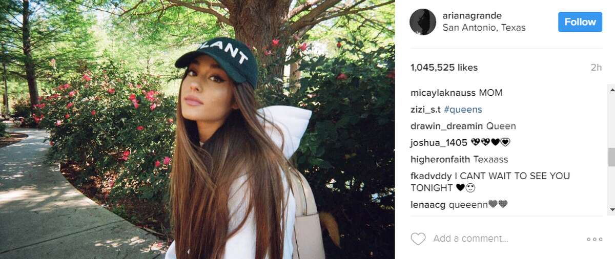 Ariana Grande Grande took a quick break on the River Walk before performing at the AT&T Center in April.