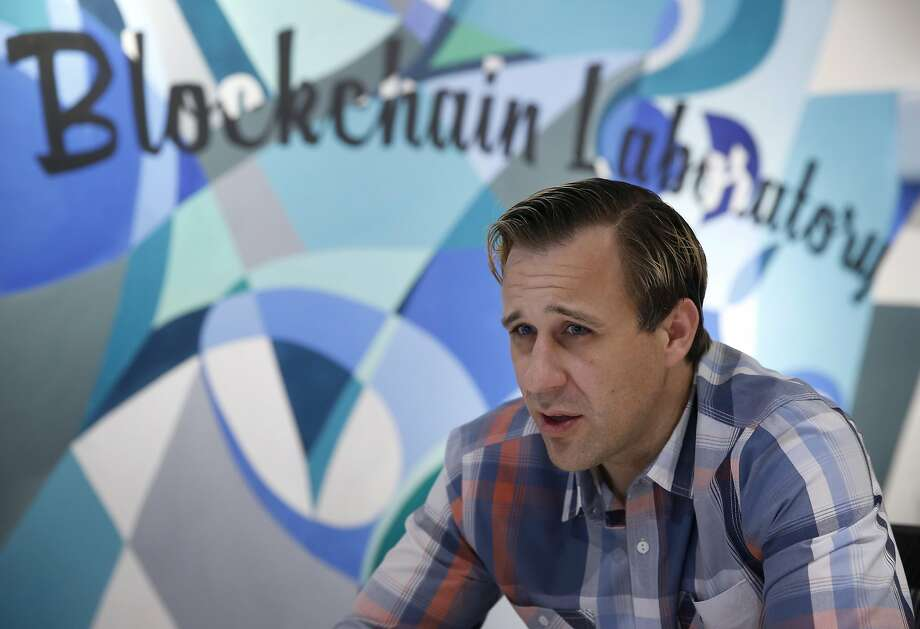 Chronicled CEO Ryan Orr attends a daily briefing with employees at their office in San Francisco, Calif. on Thursday, April 6, 2017. Chronicled has developed blockchain authentication and chain-of-custody technology using small chips embedded into products, pharmaceuticals and artwork. Photo: Paul Chinn, The Chronicle