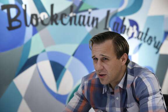 Chronicled CEO Ryan Orr attends a daily briefing with employees at their office in San Francisco, Calif. on Thursday, April 6, 2017. Chronicled has developed blockchain authentication and chain-of-custody technology using small chips embedded into products, pharmaceuticals and artwork.