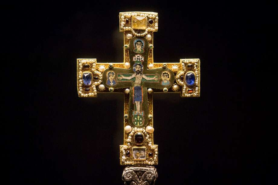 A medieval Cross on display at the Bode Museum in Berlin is part of the Guelph Treasure sold by its owners under duress in 1935. Photo: Markus Schreiber, Associated Press