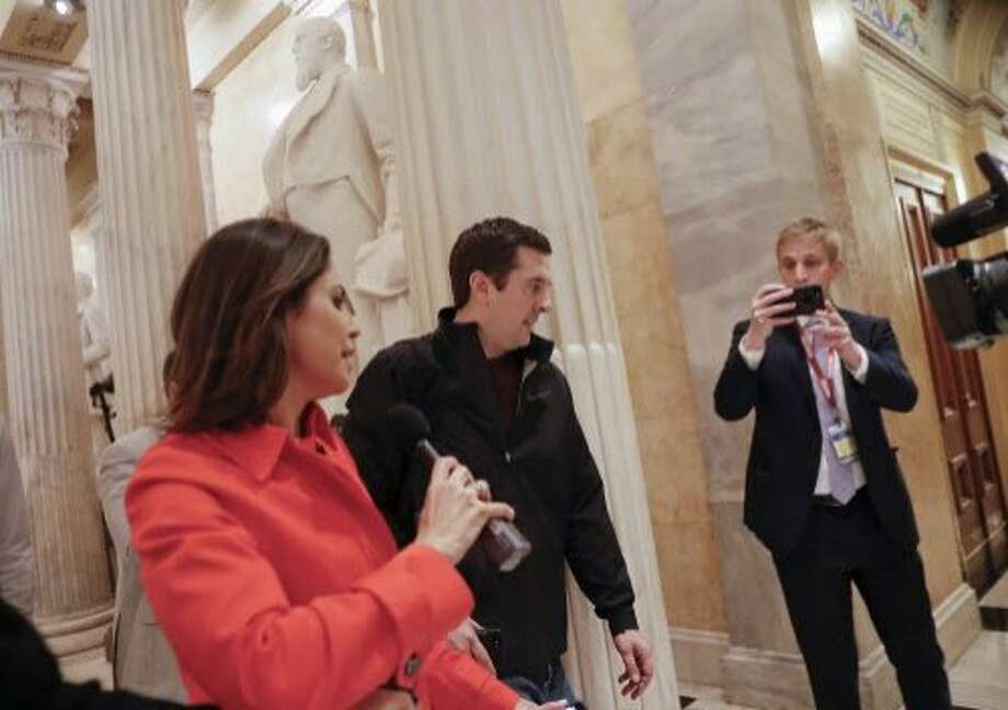 ABC News' Cecilia Vega (a former Chronicle City Hall reporter) questions Rep. Devin Nunes, R-Tulare, on Thursday. Photo: Pablo Martinez Monsivais, Associated Press