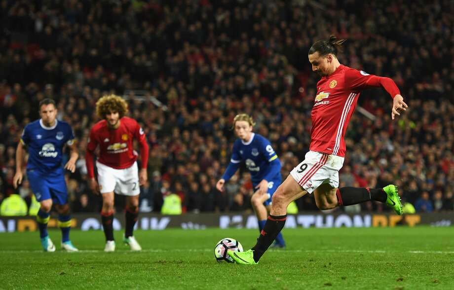 MANCHESTER, ENGLAND - APRIL 04: Zlatan Ibrahimovic of Manchester United scores his sides first goal from the penalty spot during the Premier League match between Manchester United and Everton at Old Trafford on April 4, 2017 in Manchester, England.  (Photo by Shaun Botterill/Getty Images) Photo: Shaun Botterill/Getty Images