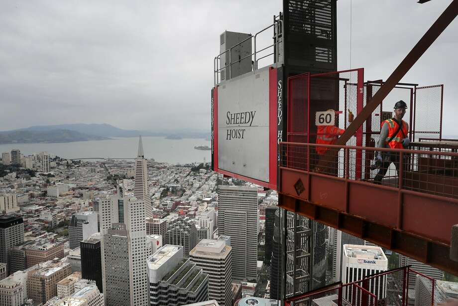 The view of San Francisco from the 60th floor of the tower during a topping off ceremony as the final steel beam was moved into position on the Salesforce Tower in downtown San Francisco, Ca. on Thurs. April 6 2017. Photo: Michael Macor, The Chronicle