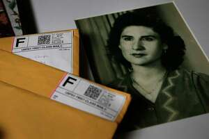 A 1945 photo of Manvela Chapa, at age 18, and the anonymous letters her family received nearly two years after her death in 2015 are shown Wednesday, April 5, 2017. The information revealed their 87-year-old mother hadn't died of natural causes, as they'd been led to believe, but rather after a doctor performed an operation without their consent. They later learned the information came from one of the nurses at the Sugar Land hospital where their mother died.