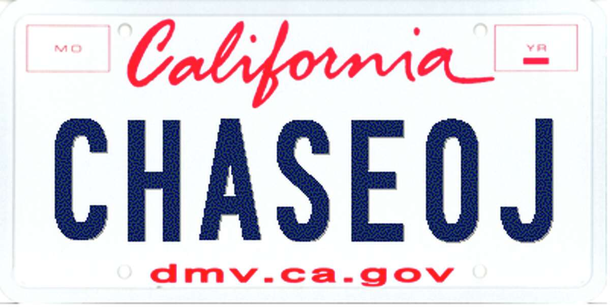 Rejected license plates CHASEOJDMV flag : Chase OJ in a white BroncoCustomer's meaning: