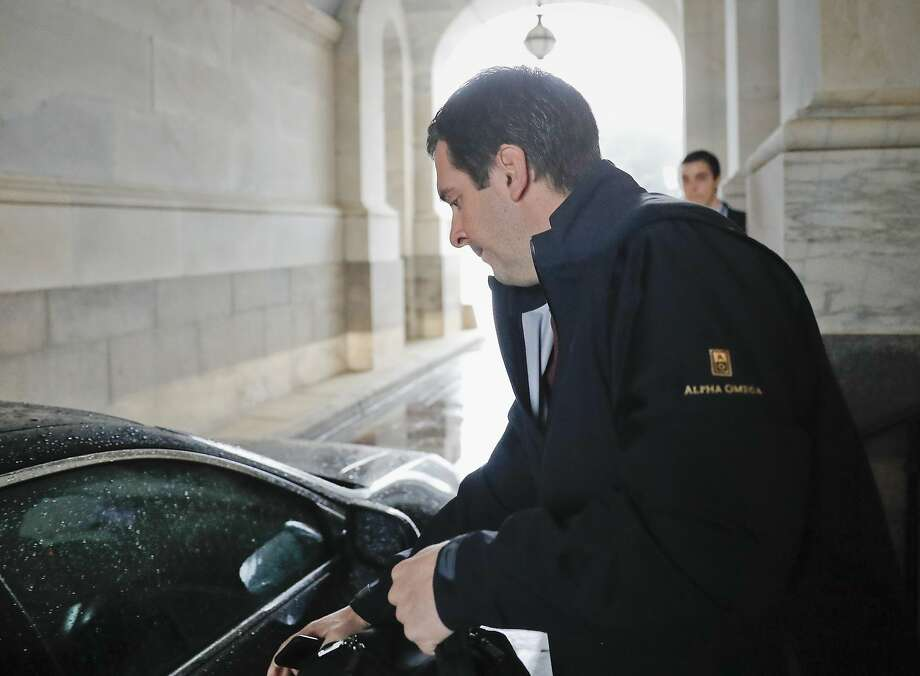 Rep. Devin Nunes reaches for the car door as he leaves Capitol Hill in Washington, Thursday, April 6, 2017, after a meeting with House Majority Leader Kevin McCarthy. Photo: Pablo Martinez Monsivais, Associated Press