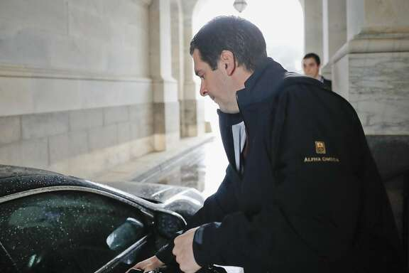 House Intelligence Committee Chairman Rep. Devin Nunes, R-Calif. reaches for the car door as he leaves Capitol Hill in Washington, Thursday, April 6, 2017, after a meeting with House Majority Leader Kevin McCarthy of Calif. Nunes will temporarily step side from the panel's investigation of Russian meddling in the election because of the complaints. (AP Photo/Pablo Martinez Monsivais)