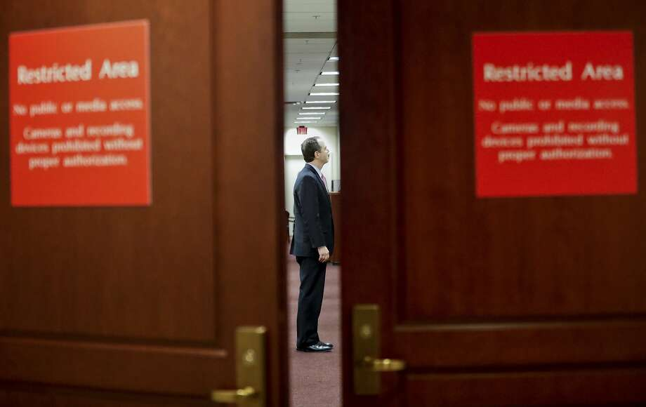 The House Intelligence Committee's ranking member Rep. Adam Schiff, D-Calif. is seen before speaking to reporters on Capitol Hill in Washington, Thursday, April 6, 2017, regarding the announcement that Committee Chairman Rep. Devin Nunes, R-Calif., will temporarily step side from the panel's investigation of Russian meddling in the election because of the complaints.  (AP Photo/Pablo Martinez Monsivais) Photo: Pablo Martinez Monsivais, Associated Press