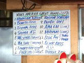 A sushi chef at Outer Sunset Taraval Okazu Ya regrets voting for Trump after touting his slogan on the daily specials board.