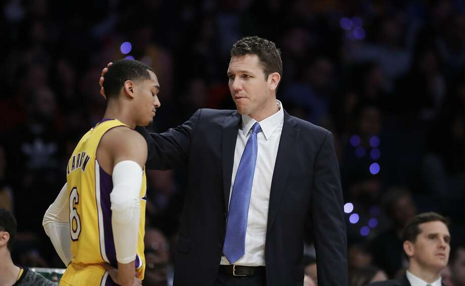 Los Angeles Lakers head coach Luke Walton, right, talks to Jordan Clarkson during the second half of an NBA basketball game against the Los Angeles Clippers Tuesday, March 21, 2017, in Los Angeles. The Clippers won 133-109. (AP Photo/Jae C. Hong) Photo: Jae C. Hong, Associated Press
