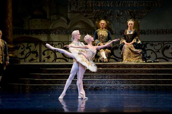 """Yuan Yuan Tan and Tiit Helimets as Princess Aurora and her suitor in Helgi Tomasson�s """"The Sleeping Beauty,"""" which opens San Francisco Ballet�s 2018 repertory season.   Photo: Erik Tomasson"""