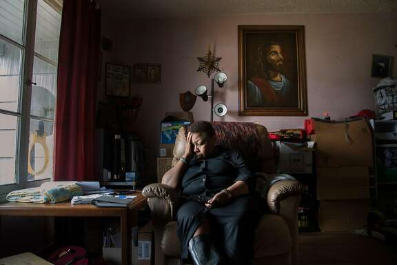 Barbara Harris-Porter, 59, Rashanda Franklin's mother in the living room of her sister Jean Hinton on Thursday, April 6, 2017 in Richmond, CA.