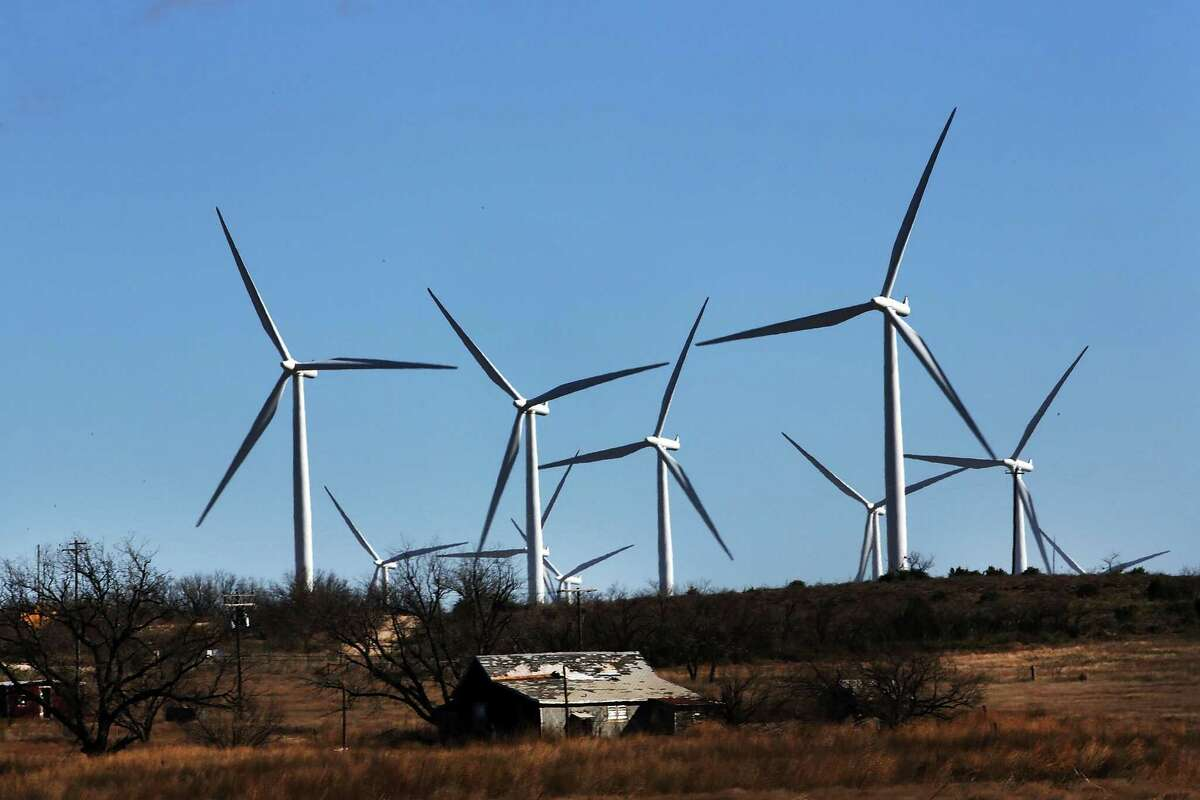 Turbines dominate the landscape at a wind farm in Colorado City, Texas. The state leads the U.S. in wind capacity.
