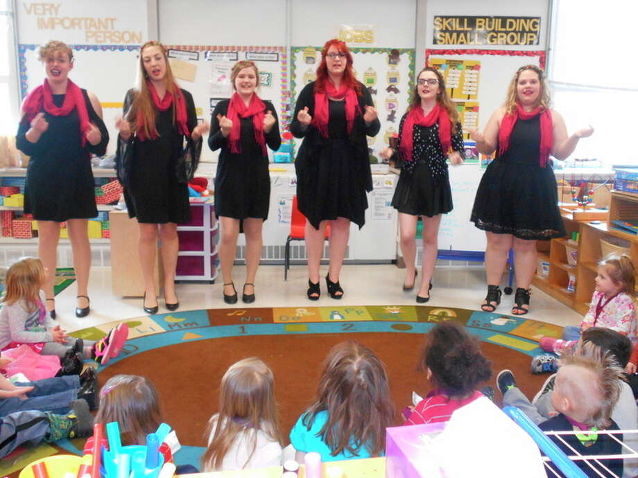 Midland High School Meister Singers preformed the song 'Lollypop' for the children in the Midland 3 Head Start Classroom at Longview Early Childhood Center.