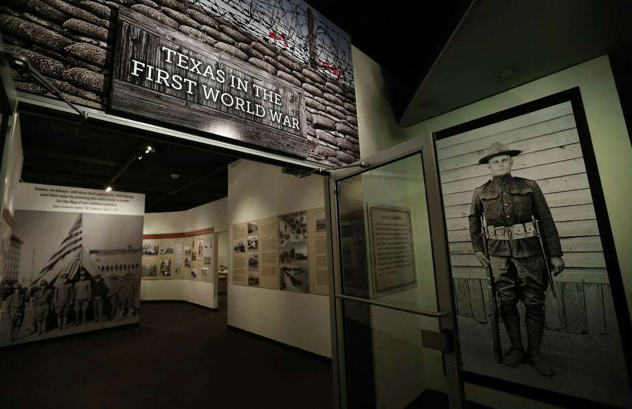 """Institute of Texan Cultures will open its """"Texas in the First World War"""" on Friday, marking the centennial of World War I, which ran from 1914 to 1918, with U.S. entry on April 6, 1917. The exhibit, with images, stories and artifacts, was co-curated with UTSA students who spent a semester studying the conflict as a whole and then focusing on the participation of 198,000 men and 450 women in Texas. The exhibit runs through Jan. 7, 2018. (Kin Man Hui/San Antonio Express-News) Photo: Kin Man Hui, Staff / San Antonio Express-News / ©2017 San Antonio Express-News"""