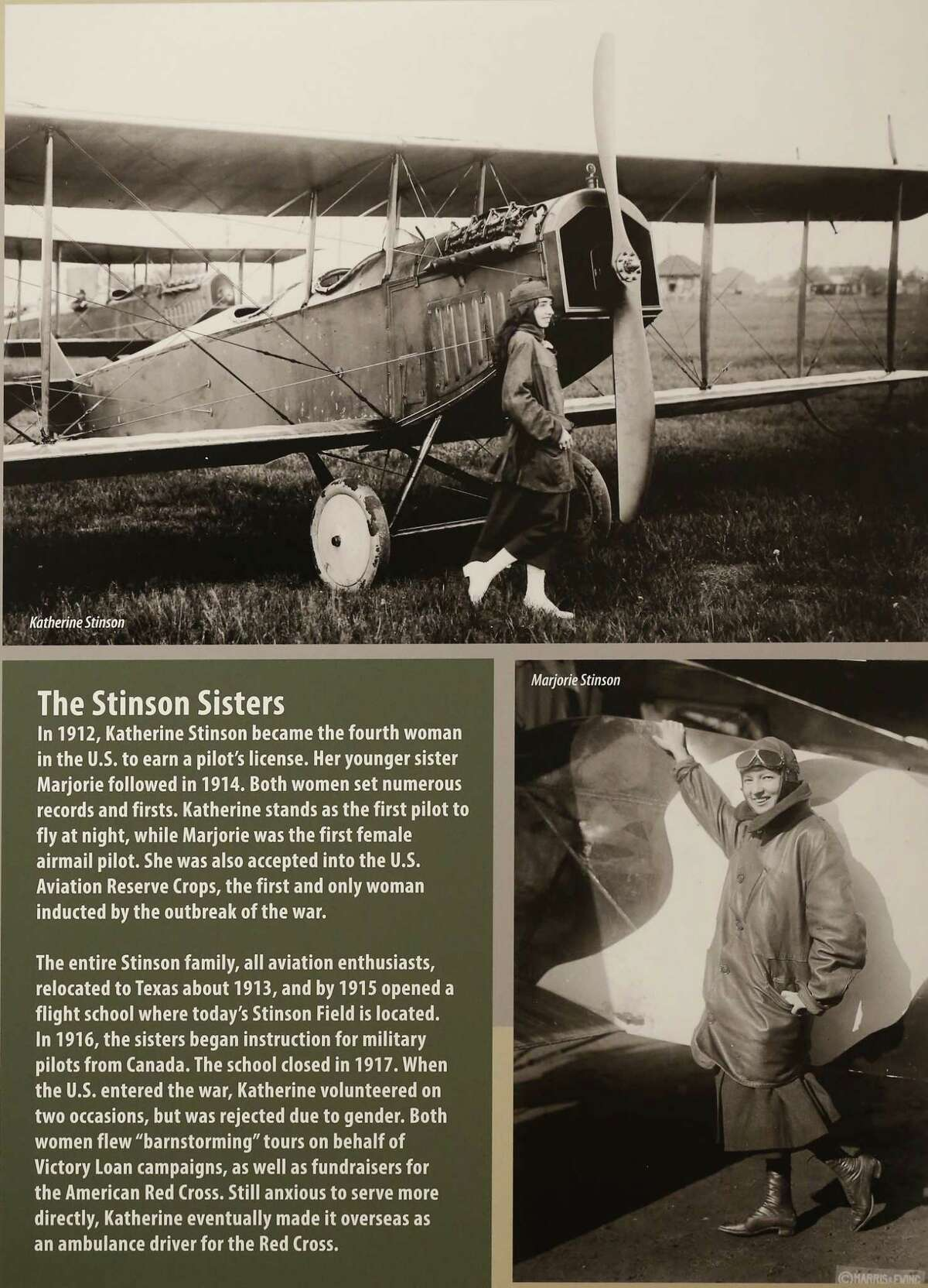 A poster discussing the history of the Stinson sisters and their relation to the First World War and to aviation is seen on display as the Institute of Texan Cultures opens its