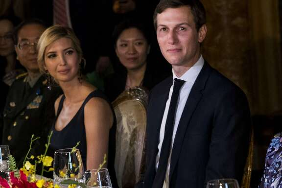Ivanka Trump and Jared Kushner at a dinner for President Xi Jinping of China at Donald Trump's Mar-a-Lago resort in Palm Beach, Fla., April, 6, 2017. Kushner was seated next to Xi's wife, Peng Liyuan. (Doug Mills/The New York Times)