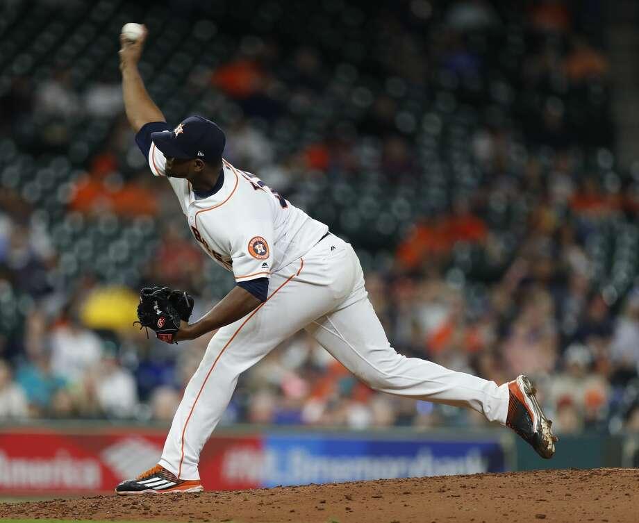 Astros relief pitcher Michael Feliz began a new rehab assignment on Monday. Photo: Karen Warren/Houston Chronicle