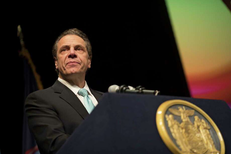 FILE -- Gov. Andrew Cuomo speaks at the Orthodox Union Student Rally, Egg Hart Theater, in Albany, N.Y., March 1, 2017. New York's Mayor Bill de Blasio has been talking up his desire to create a new tax on home sales above $2 million in the city, a so-called mansion tax, for almost two years, eagerly playing the snowball to AlbanyOs hell over an idea that not even his allies think is viable. (Nathaniel Brooks/The New York Times) ORG XMIT: XNYT115 Photo: NATHANIEL BROOKS / NYTNS