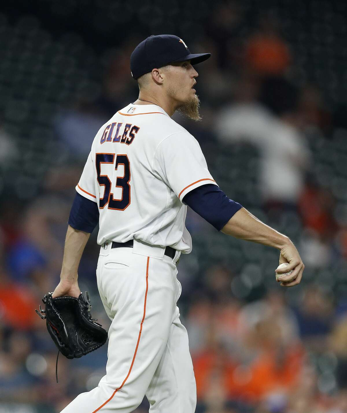 Houston Astros relief pitcher Ken Giles (53) reacts after giving up a run on Seattle Mariners Jarrod Dyson's RBI single in the ninth inning of an MLB baseball game at Minute Maid Park, Thursday, April 6, 2017, in Houston. ( Karen Warren / Houston Chronicle )