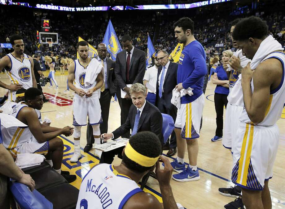 Steve Kerr is focused on getting ready for the playoffs, not the winning the year's final games. Photo: Carlos Avila Gonzalez, The Chronicle