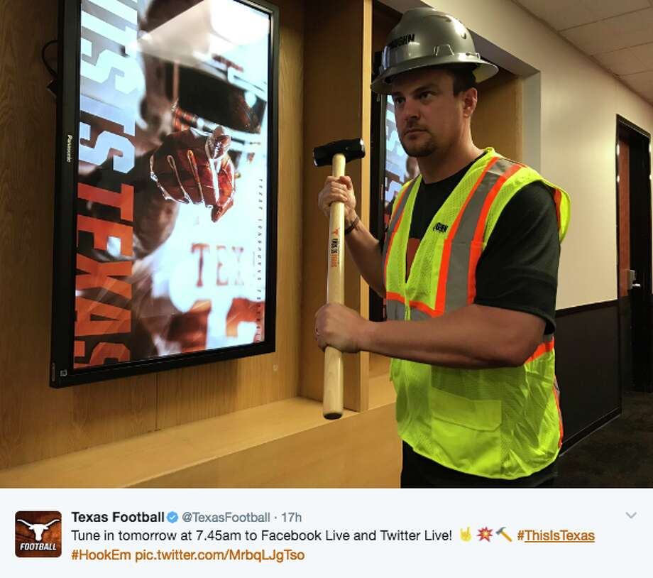 Texas coach Tom Herman gets ready for locker room demolition. Photo: TWITTER