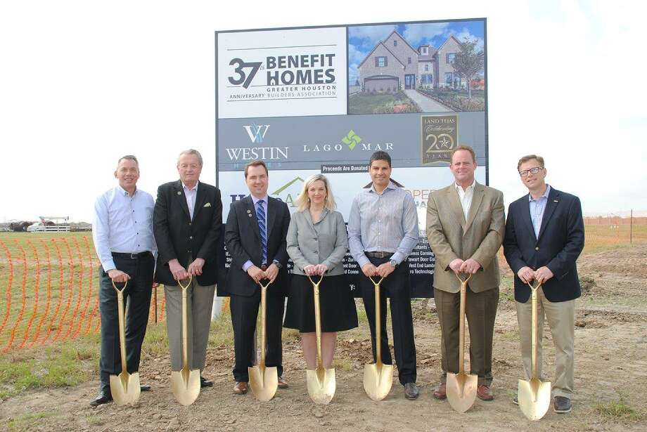 To help mark the official ground-breaking of the GHBA Benefit Home are, from left, Will Holder, Benefit Homes Project chair; Al Brende, owner and co-founder Land Tejas; Tim Johnson, director of community sales and marketing, Land Tejas; Jennifer Keller, president and chief operating officer, Land Tejas; Jason Golan, owner, Westin Homes; Patrick Mayhan, purchasing manager, Land Tejas and Bo Butler, president of GHBA.