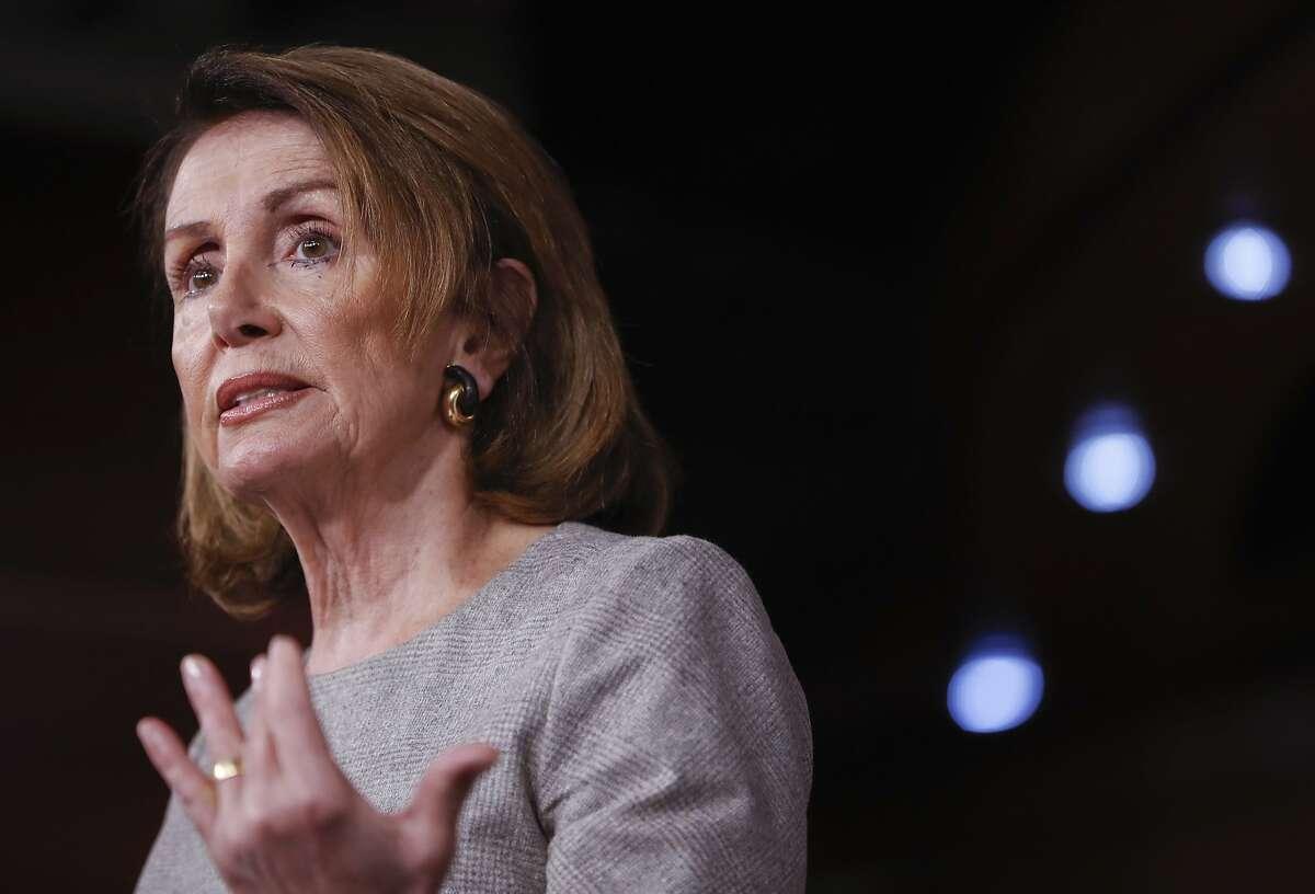 House Minority Leader Nancy Pelosi of Calif. speaks with reporters on Capitol Hill in Washington, Thursday, April 6, 2017. (AP Photo/Pablo Martinez Monsivais)
